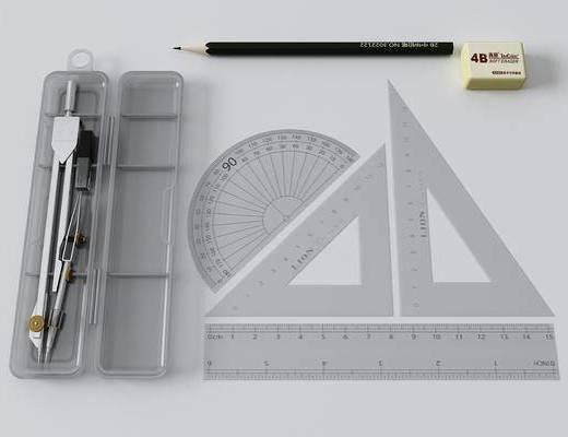 铅笔, 尺子, 文具