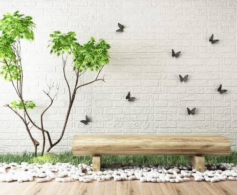 园艺景观, 木头长凳, 植物, 蝴蝶墙饰, 鹅卵石, 草地