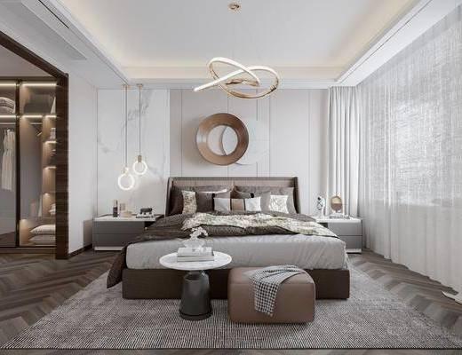 现代卧室, 吊灯, 墙饰, 床, 衣柜