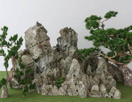 假石, 假山, 植物, 绿植, 新中式假山, 新中式