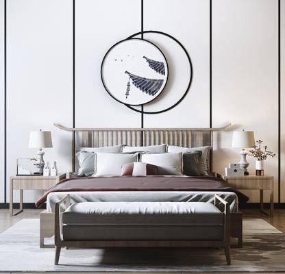 双人床, 床具组合, 墙饰, 床头柜, 床尾踏