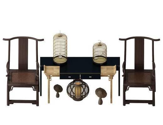 桌子, 单人椅, 装饰品, 中式