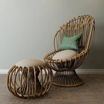 田园, 藤椅, 东南亚, 休闲椅