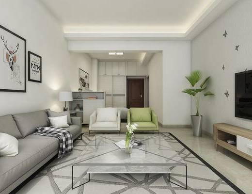 现代, 客厅, 餐厅, 茶几, 沙发, 绿植, 休闲椅