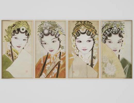 人物画, 装饰画, 挂画组合, 中式