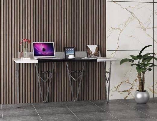 书桌, 现代书桌, 现代, 摆件