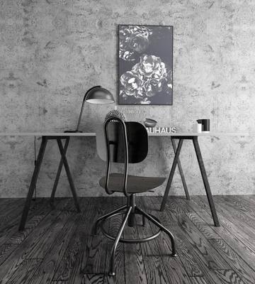 桌椅组合, 书桌, 单椅, 工业风桌椅组合