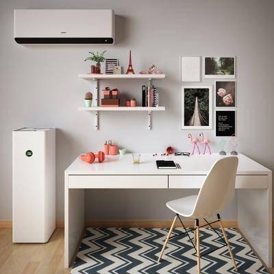 空调, 桌椅组合, 书桌, 墙饰, 装饰画