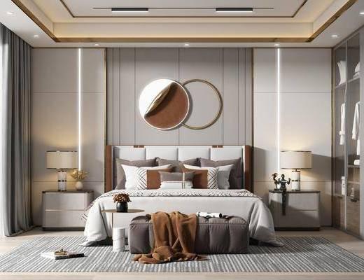 卧室, 现代, 家装, 双人床