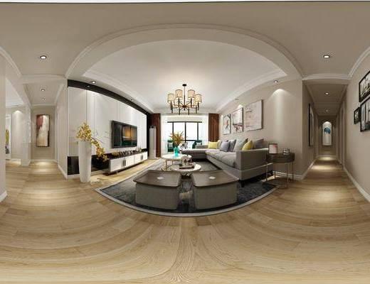 现代客厅, 现代客餐厅, 客厅