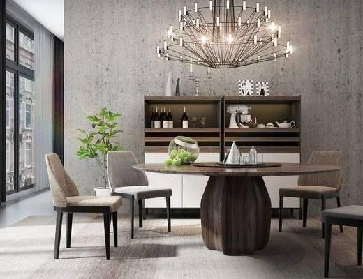 桌椅组合, 圆餐桌, 餐桌, 餐椅, 吊灯, 餐边柜, 饰品, 北欧