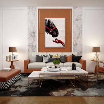 沙发组合, 后现代沙发组合, 茶几, 边几, 挂画, 圆几, 单椅, 台灯, 摆件, 装饰品, 后现代, 双十一