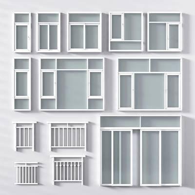 现代开窗, 趟门, 推拉窗, 玻璃, 护栏
