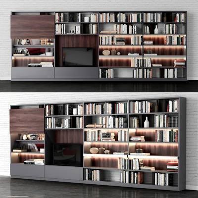 书籍, 书柜, 电视柜, 瓷器, 摆件, 现代