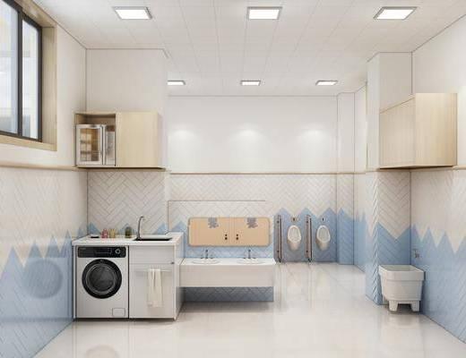 卫生间, 幼儿园, 洗衣机, 洗手台, 马桶, 现代