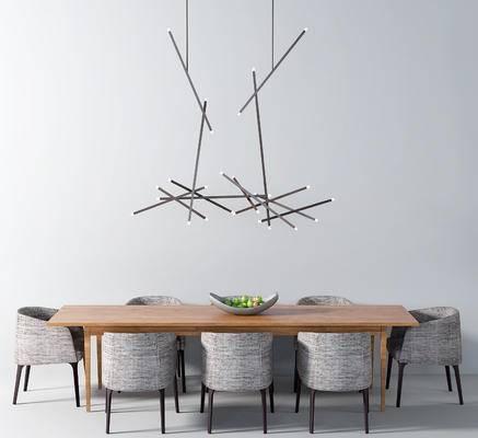 桌椅组合, 餐桌椅, 椅子, 桌子, 吊灯, 现代