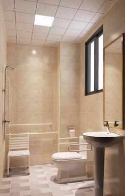 卫生间, 洗手台, 花洒, 马桶, 单人椅, 现代