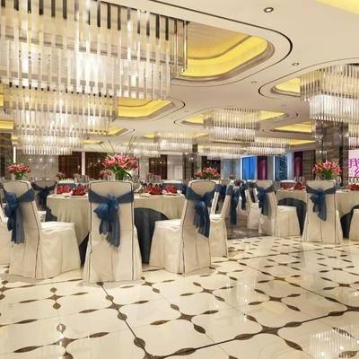 宴会厅, 餐桌, 餐椅, 摆件, 吊灯, 装饰品, 陈设品, 简欧