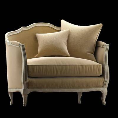 双人沙发, 布艺沙发, 单人沙发, 简欧