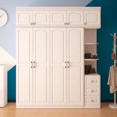 现代衣柜, 现代, 衣柜, 衣帽架, 包包, 时钟
