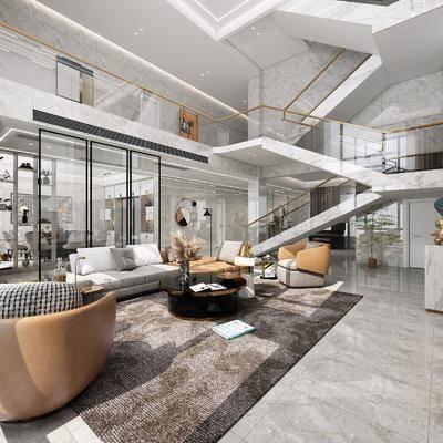沙发组合, 楼梯, 单椅, 茶几, 地毯, 酒柜, 置物柜
