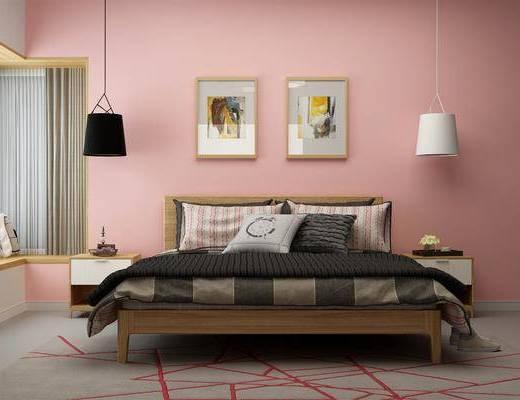 床具组合, 边柜组合, 北欧卧室