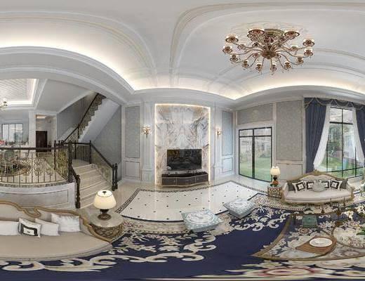 法式客厅, 客厅, 法式餐厅, 餐厅, 法式别墅, 别墅, 法式全景模型, 全景模型, 360, 玄关