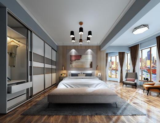 现代, 现代卧室, 卧室, 床, 床尾凳, 床头柜