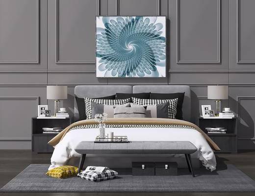 卧室, 床具组合, 双人床, 床头柜, 台灯, 装饰画, 挂画, 摆件, 装饰品, 陈设品, 北欧