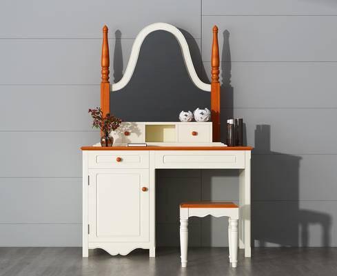 梳妆台, 凳子, 化妆品, 镜子