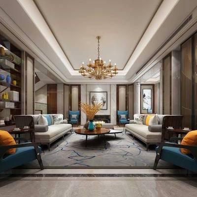 客厅, 双人沙发, 布艺沙发, 单人沙发, 沙发榻, 茶几, 装饰柜, 摆件, 壁灯, 吊灯, 装饰画, 新中式