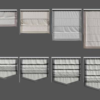 折叠帘, 现代, 布艺, 窗帘