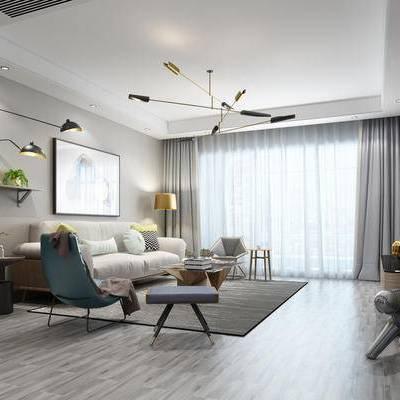 北欧客厅, 现代客厅, 客厅, 沙发, 单人椅, 茶几, 挂画, 北欧吊灯, 吊灯
