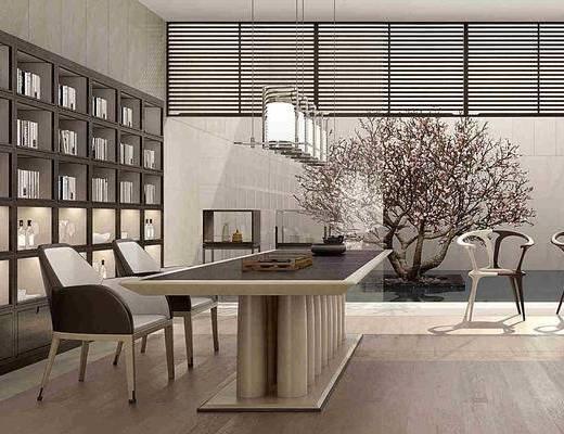 茶室茶桌, 茶桌, 單人椅, 裝飾柜, 擺件, 裝飾品, 陳設品, 樹木, 綠植植物, 吊燈, 新中式