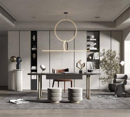 书桌, 桌椅组合, 书柜, 吊灯, 柜架组合