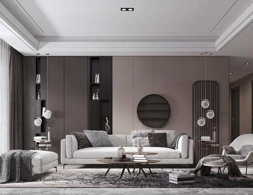 客厅, 沙发组合, 沙发茶几组合, 吊灯组合, 摆件组合, 现代轻奢