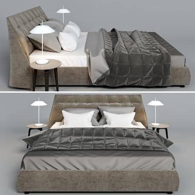 双人床, 边几, 台灯, 北欧