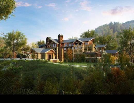 别墅, 门面门头, 树木, 草地, 绿植植物, 新古典