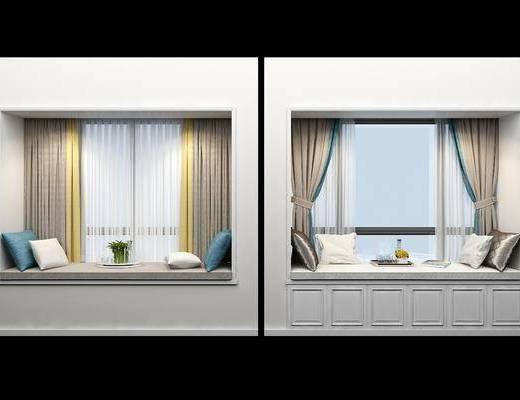 飘窗, 窗帘组合, 现代
