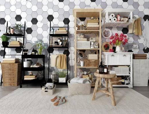 擺件組合, 櫥柜組合, 洗浴用品, 柜架組合