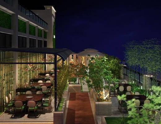 餐厅, 桌椅组合, 露台阳台, 绿植, 植物