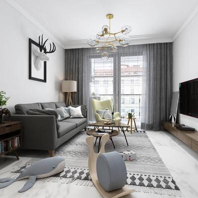 现代客厅, 客厅, 北欧客厅, 沙发, 吊灯, 电视柜