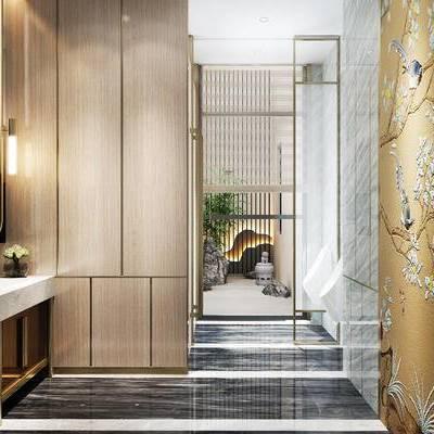 新中式卫生间, 壁灯, 洗手台, 镜子, 中式装饰摆件