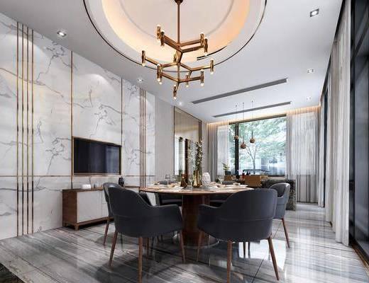 餐厅, 别墅, 现代别墅餐厅, 桌椅组合, 餐具