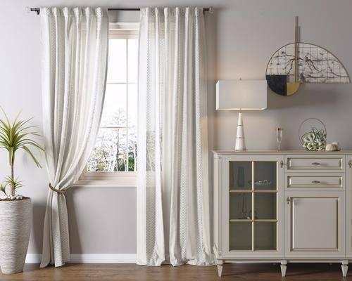 边柜, 盆栽, 台灯, 墙饰, 装饰柜, 现代