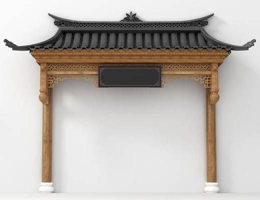 门头, 新中式门头, 屋檐, 古建, 新中式
