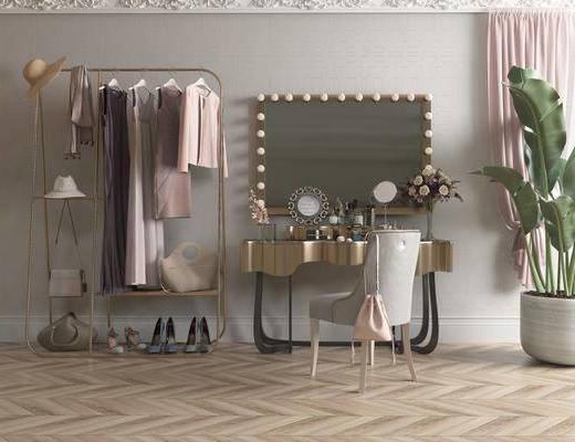 梳妆台椅组合, 化妆品, 衣架服饰, 现代