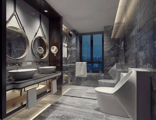 卫浴, 卫生间, 现代卫生间, 尿兜, 坐厕, 洗手台, 毛巾架, 镜子, 淋浴间, 花洒, 现代