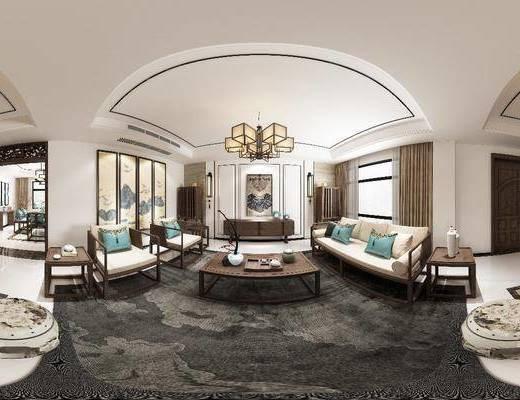 客厅, 餐厅, 多人沙发, 茶几, 边几, 单人椅, 电视柜, 人物画, 吊灯, 组合画, 风景画, 壁灯, 凳子, 餐桌, 餐椅, 墙饰, 家装全景, 新中式