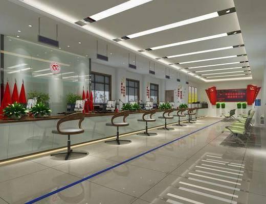 服务大厅, 单人椅, 电脑桌, 盆栽, 绿植植物, 休闲椅, 台灯, 现代
